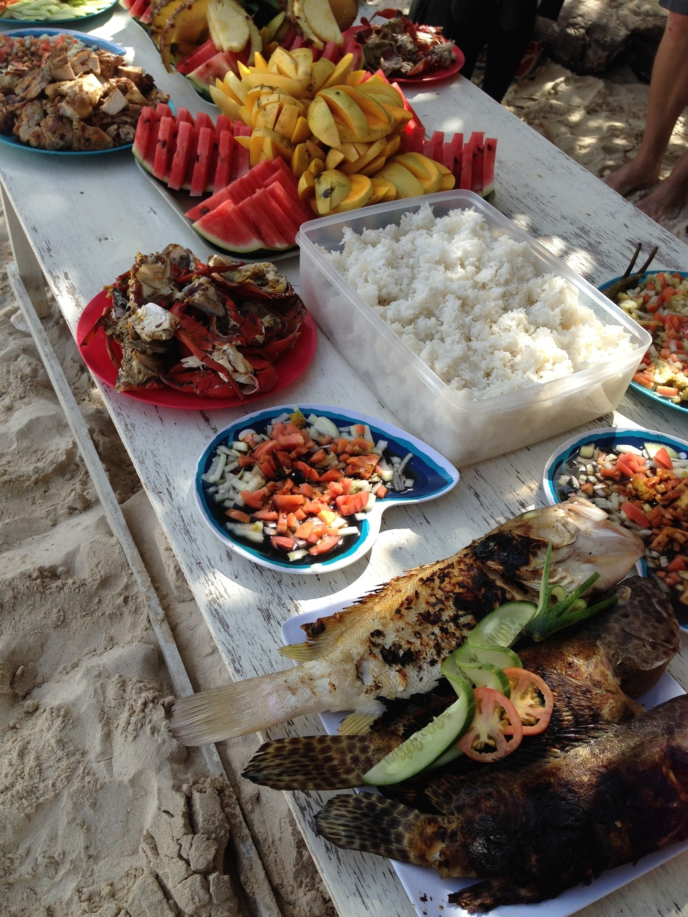 The lunch spread on our island hopping excursion
