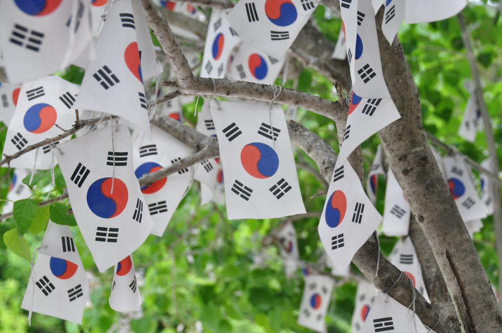 Ulleungdo hike Korean flags