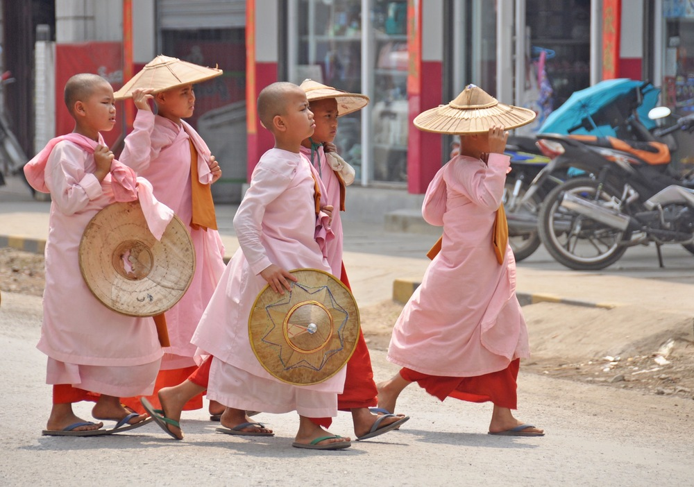 Myanmar young female buddhist nuns
