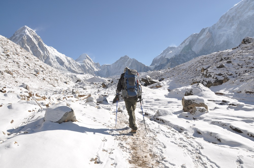 Everest Base Camp trek snow