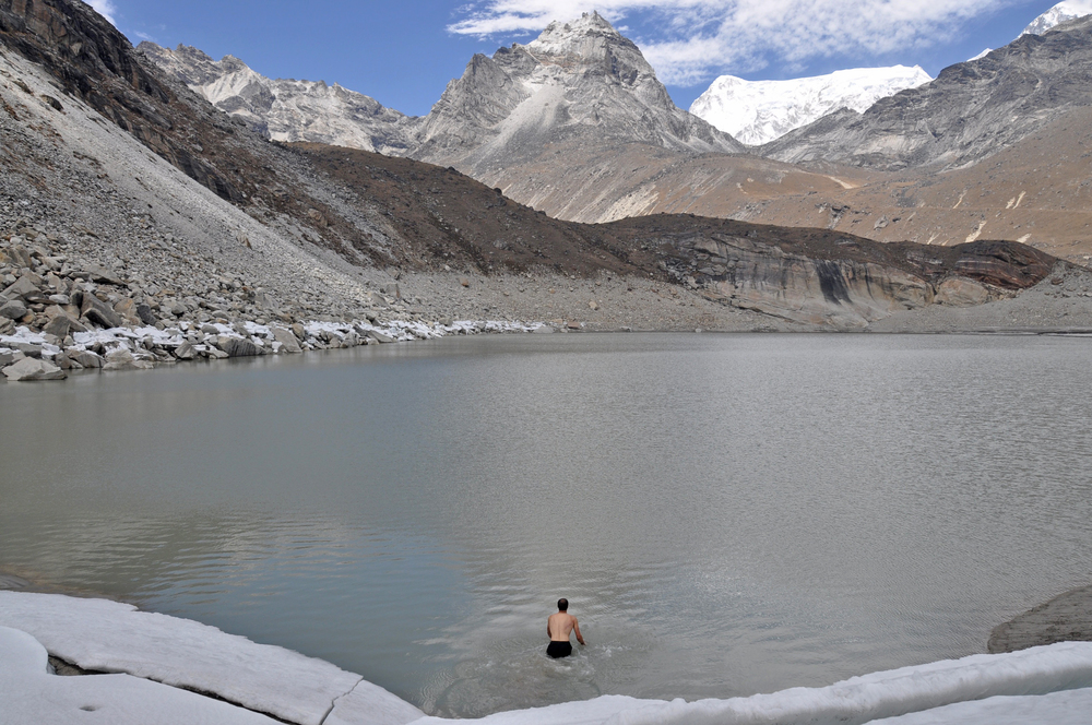 Gokyo swimming in a glacial lake