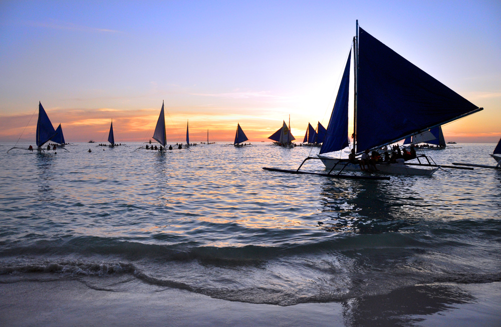 Boracay Sunset Sailboats