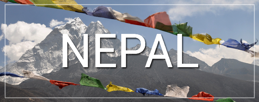 Nepal Prayer Flags and Mountains