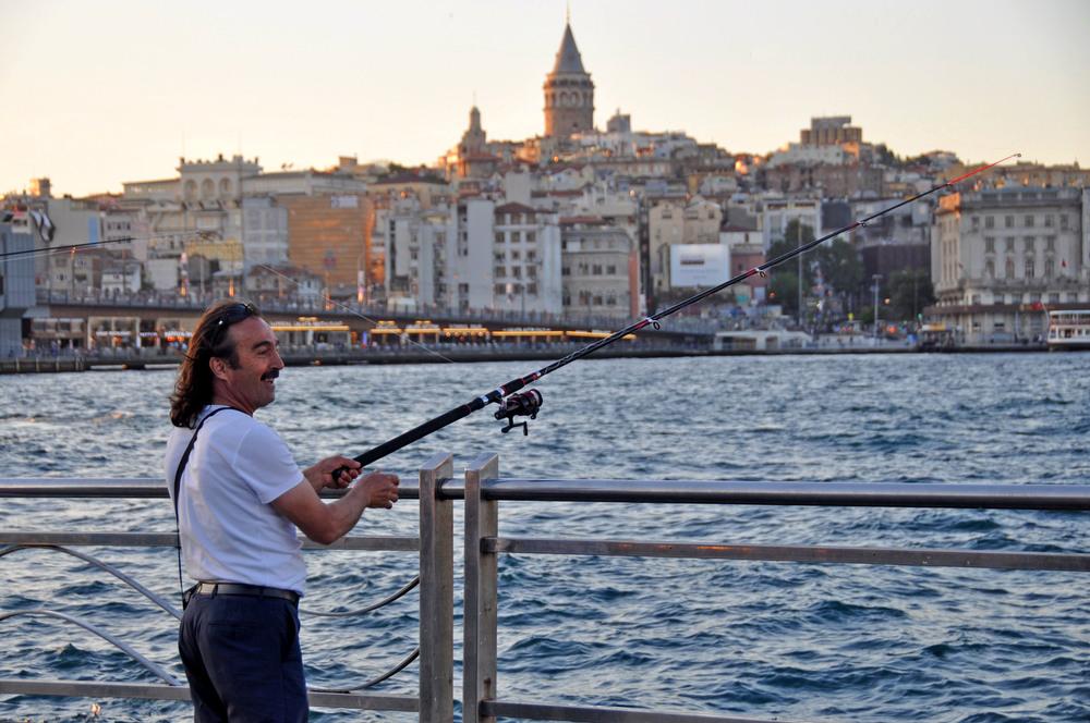 Istanbul, Turkey fisherman