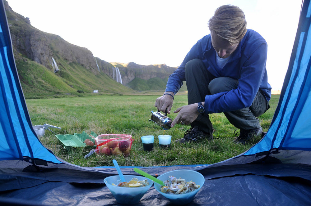 Breakfast near Waterfall Iceland Camping Equipment