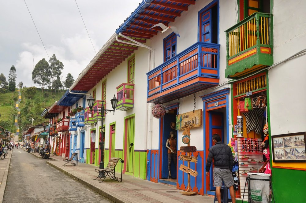 Colorful doors Salento Colombia
