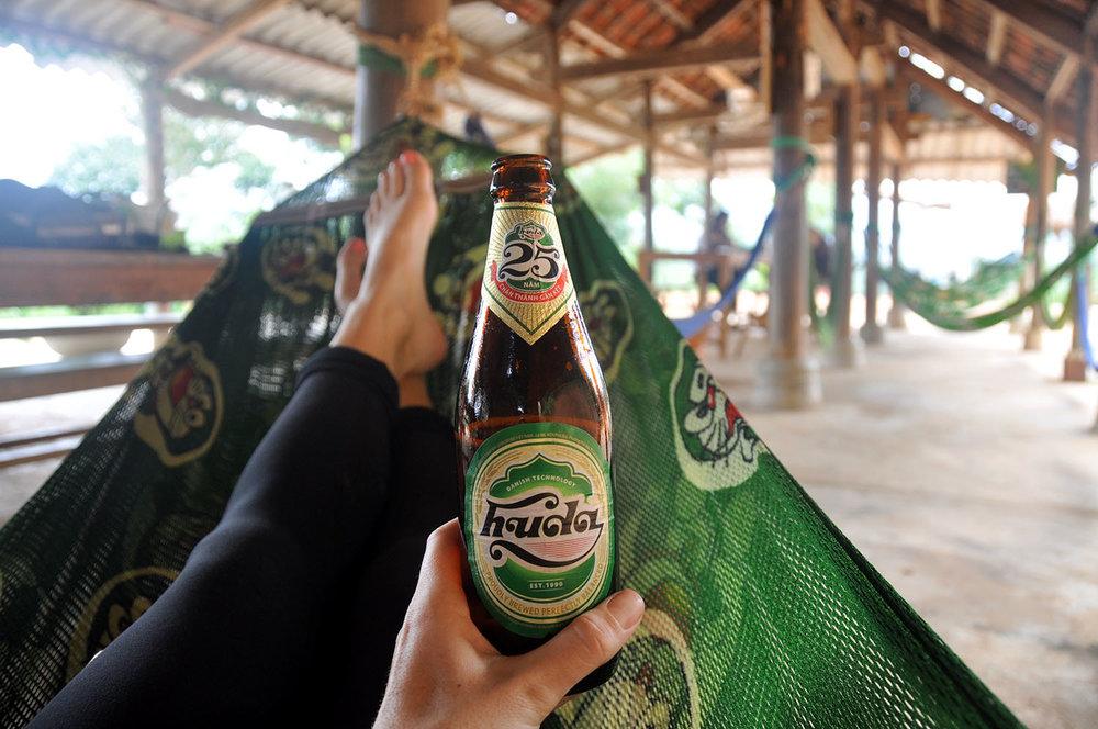 Hammocks and beer Pub with cold beer Phong Nha Vietnam