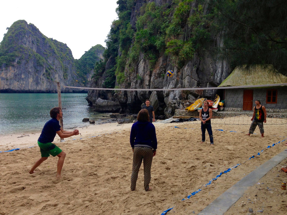 Ha Long Bay Volleyball Freedom Island Vietnam Itinerary
