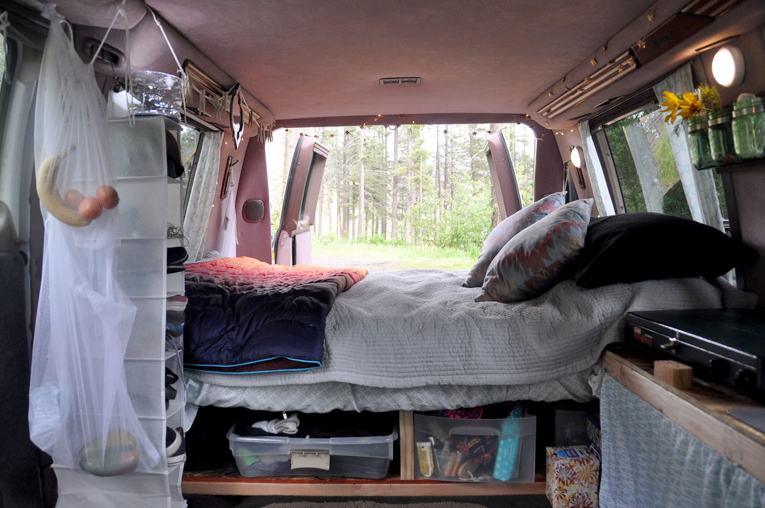 DIY Campervan Bed Frame with Built-in Storage