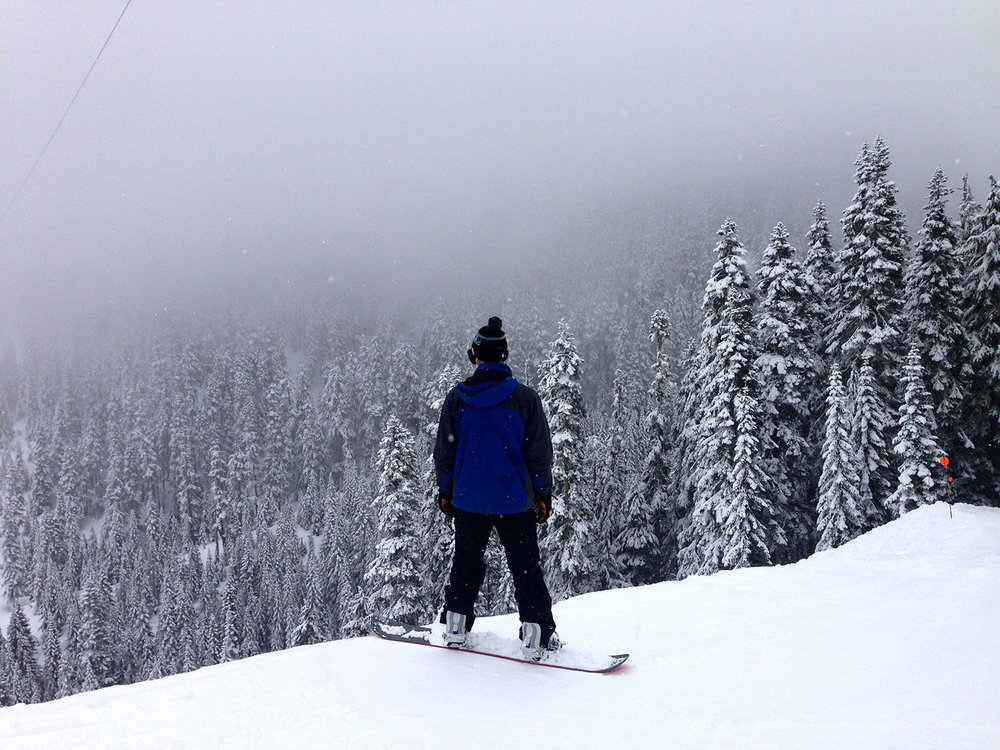 Snowboarding at Stevens Pass Washington