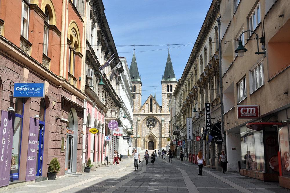 Sarajevo Main Walking Street Bosnia Travel