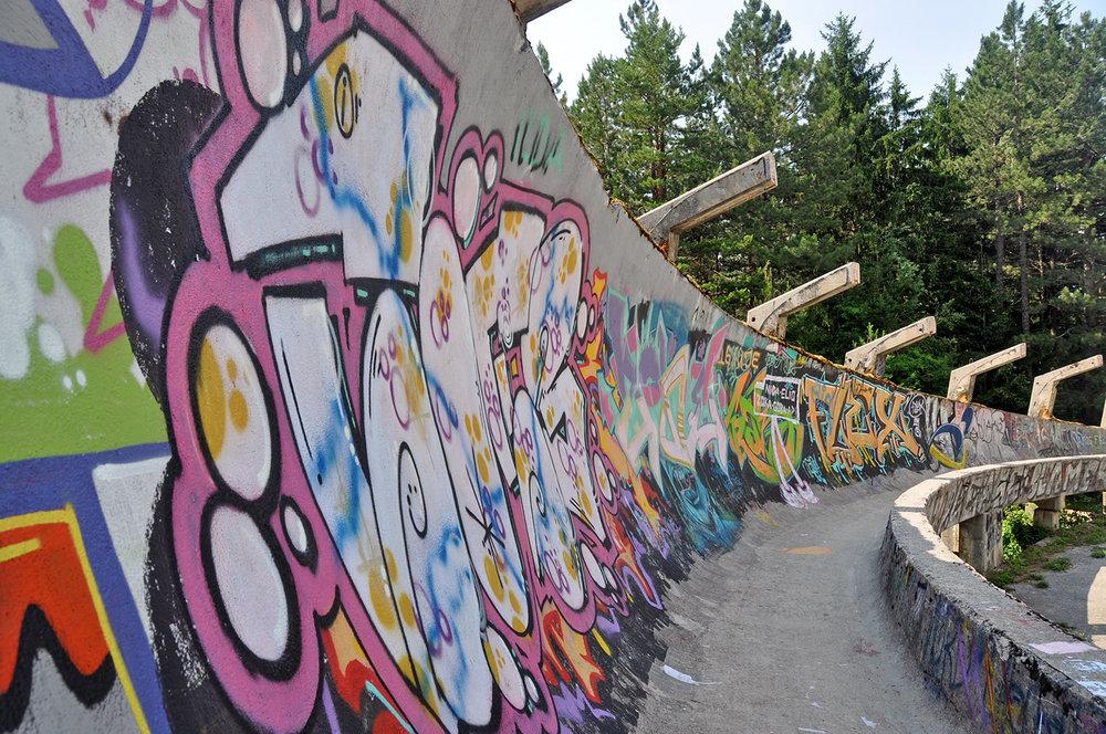 Abandon Bobsled Graffiti Sarajevo Bosnia Travel