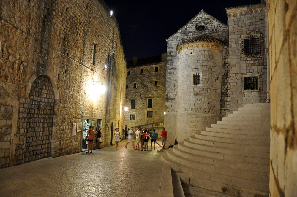 Tourist at night Dubrovnik Croatia Travel