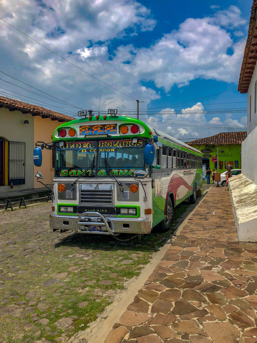 Colorful chicken bus Suchitoto El Salvador