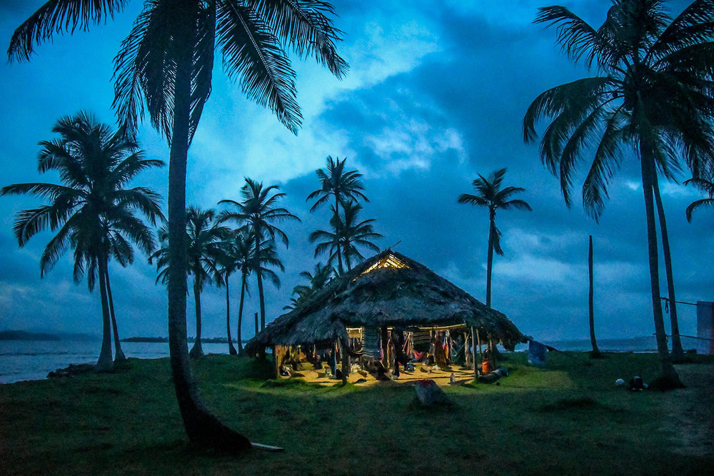 San Blas Islands Panama to Colombia Thatched Roof Hut