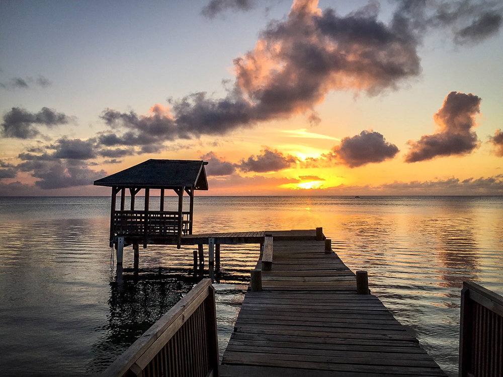 Roatan Island Dock and Sunset