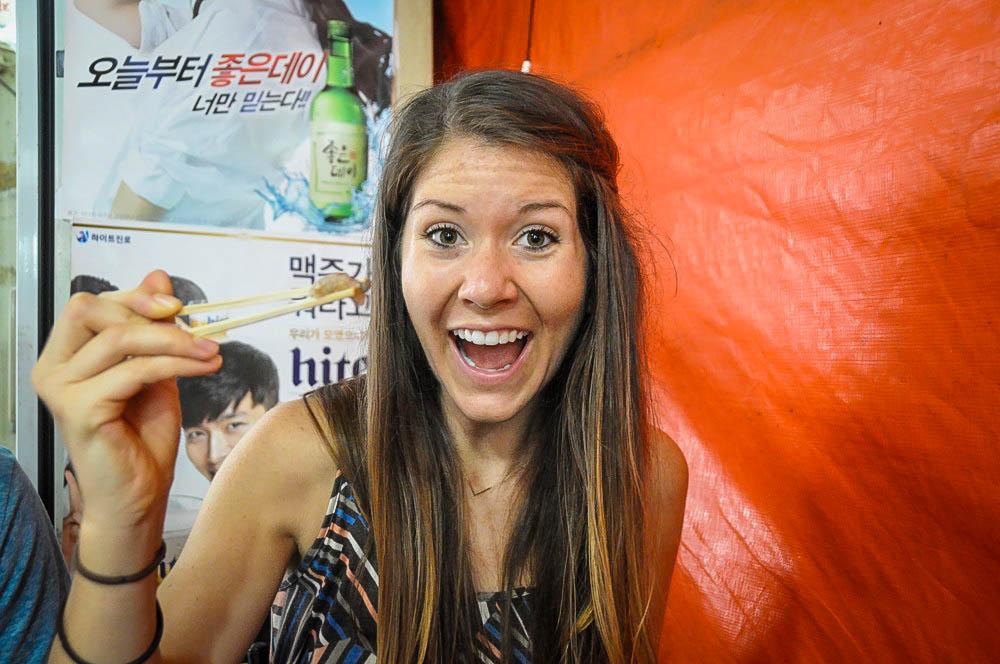 Teaching English Abroad eating octopus
