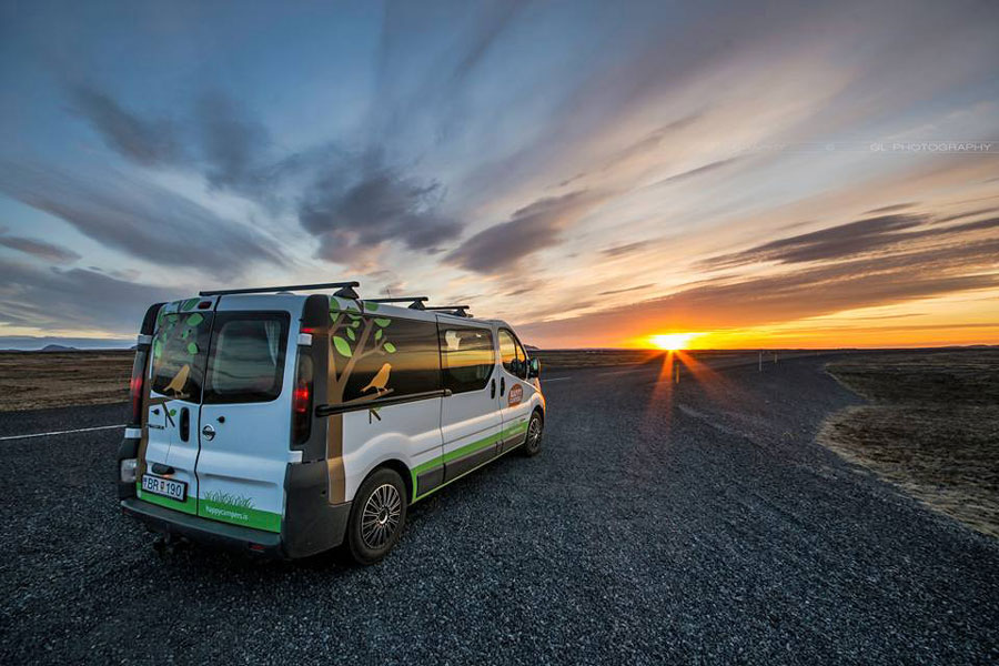 Campervan Iceland Happy Campers Sunset
