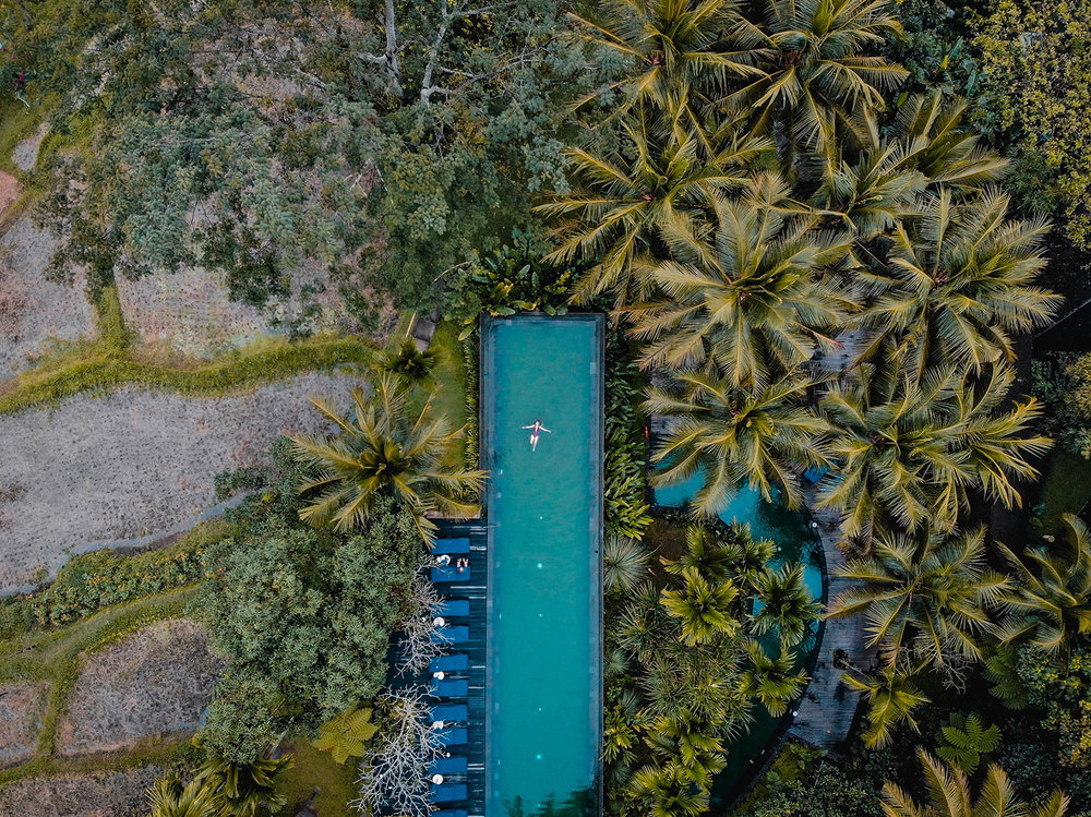 Komaneka at Bisma Ubud Resort Review Drone Photo of Pool