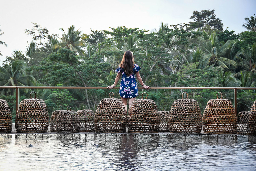 Komaneka at Bisma Ubud Resort Review Pool and Wicker baskets