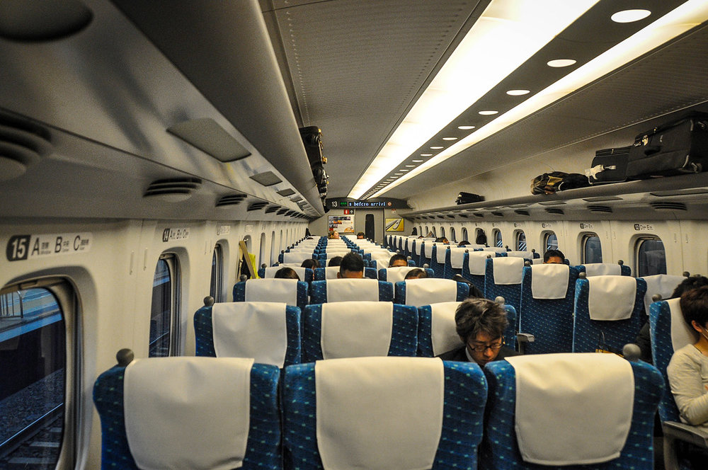 Shinkansen Train Bullet Train seats Japan