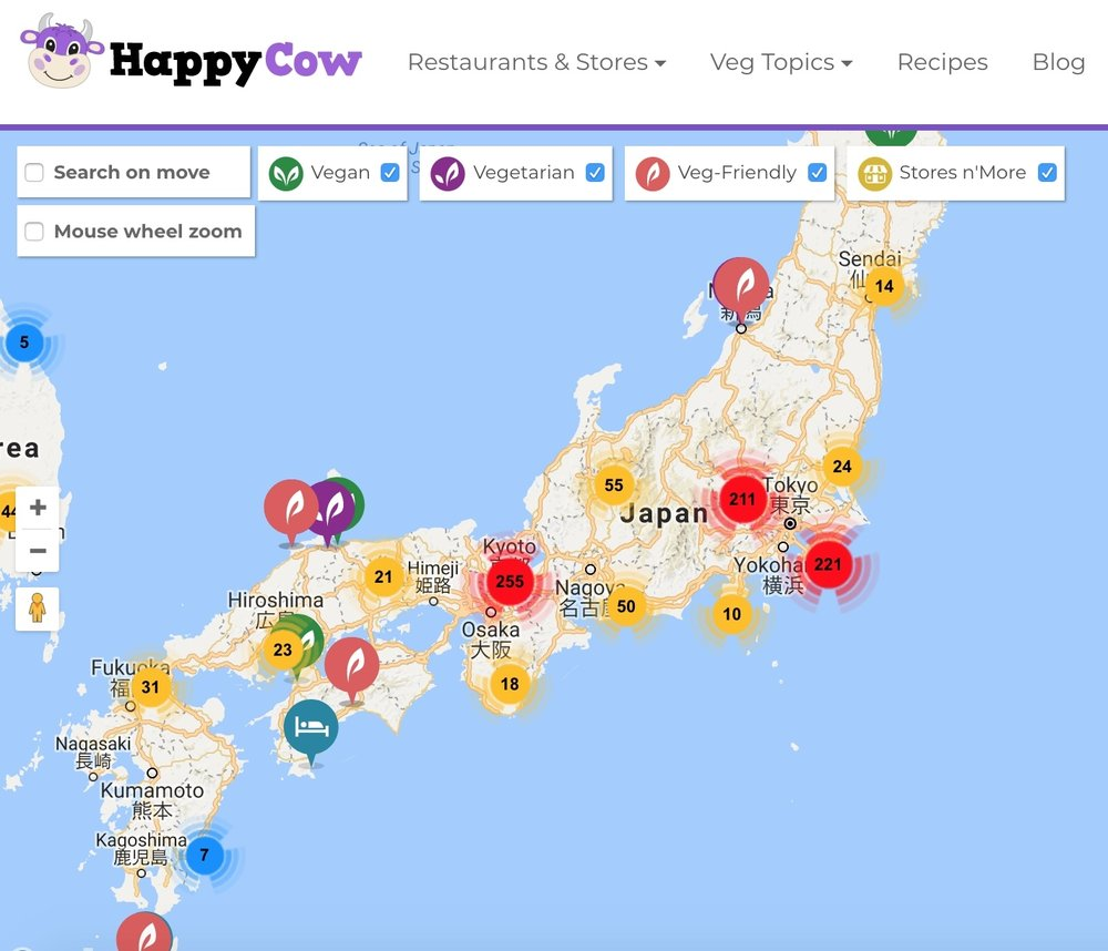 Happy Cow Vegetarian travel in Japan