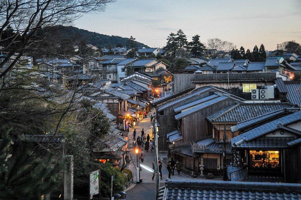 Japan Traditional Village at Dusk Walking Street