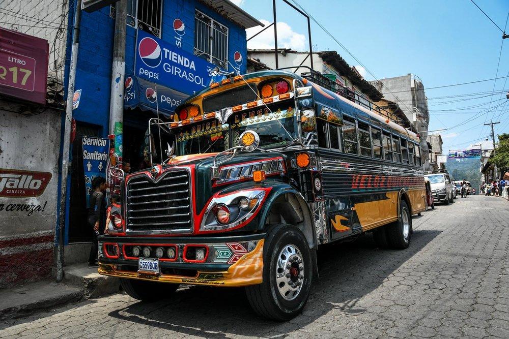 Things to Do in Lake Atitlan: Chicken Bus Guatemala