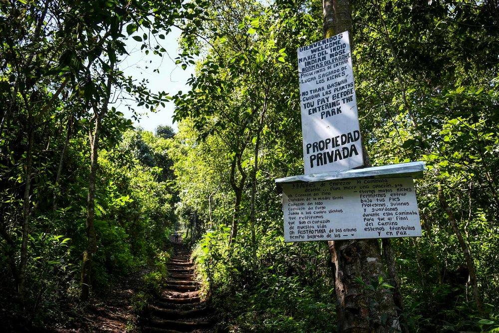 Things to Do in Lake Atitlan: Indian Nose Hike Entrance Sign