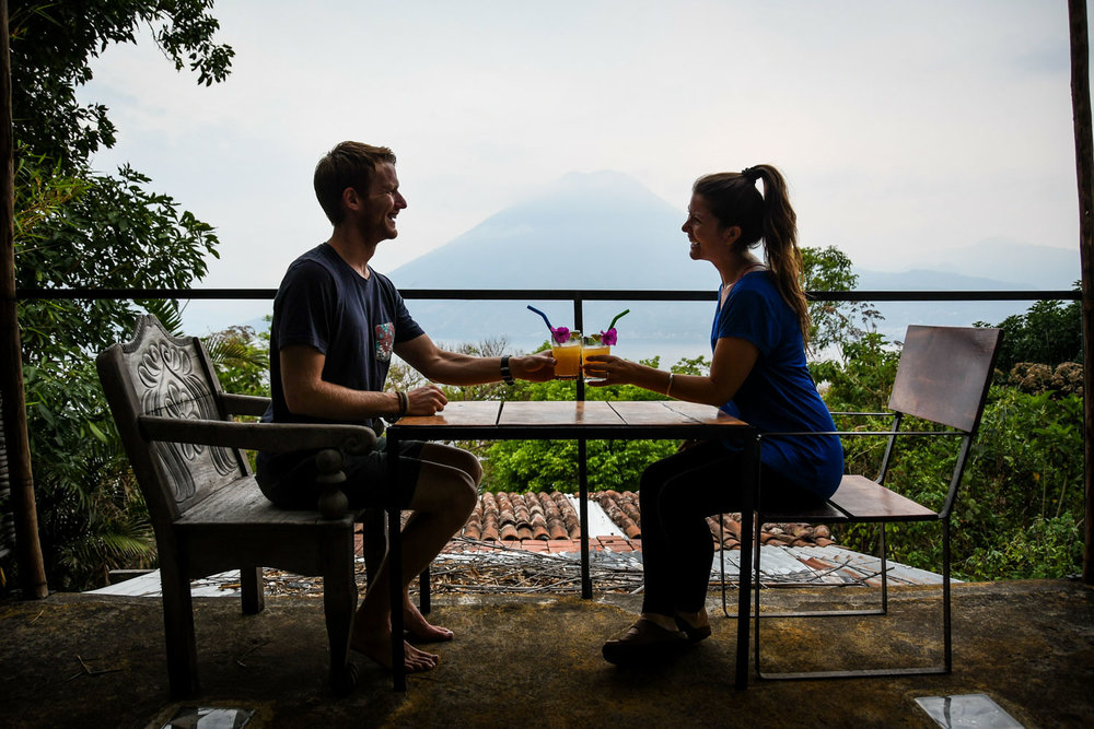 Things to Do in Lake Atitlan: Airbnb with drinks and a volcano