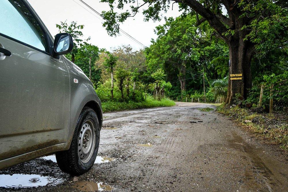 Renting a Car in Costa Rica Pot Holes