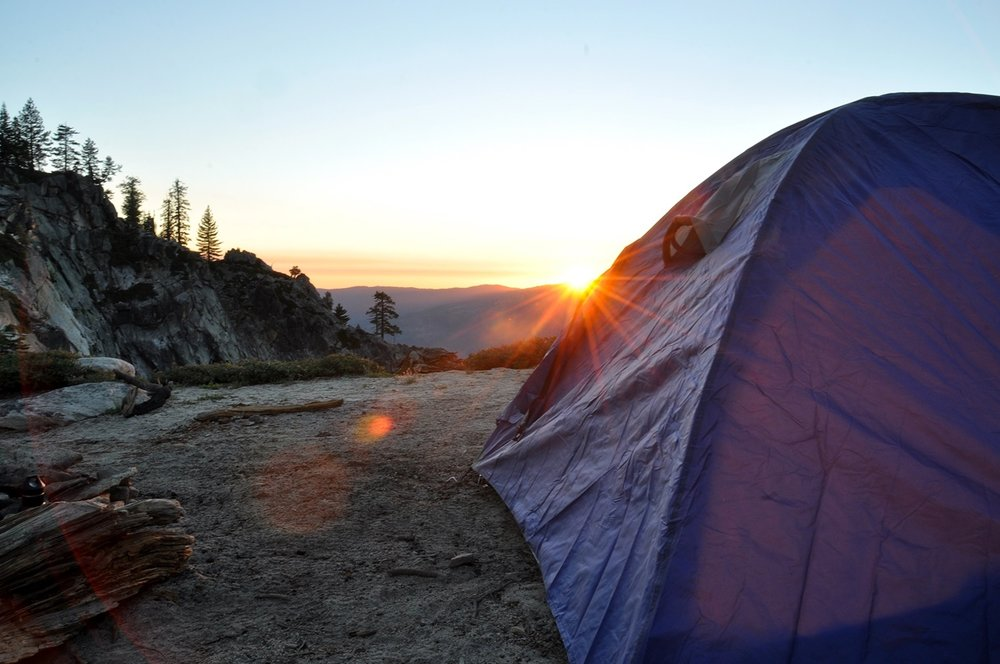 Cheap Road Trip Tips Tent at sunset