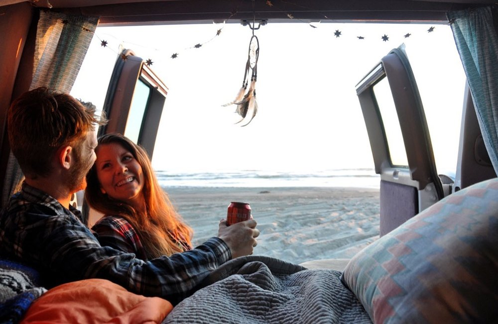 Campervan living beach sunset