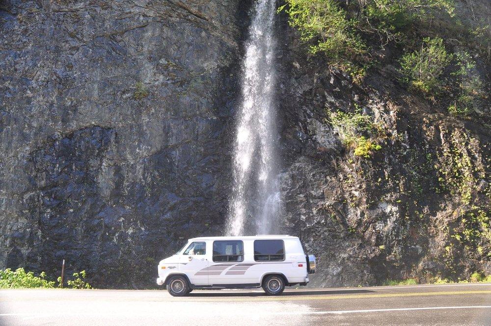 Campervan Life waterfall