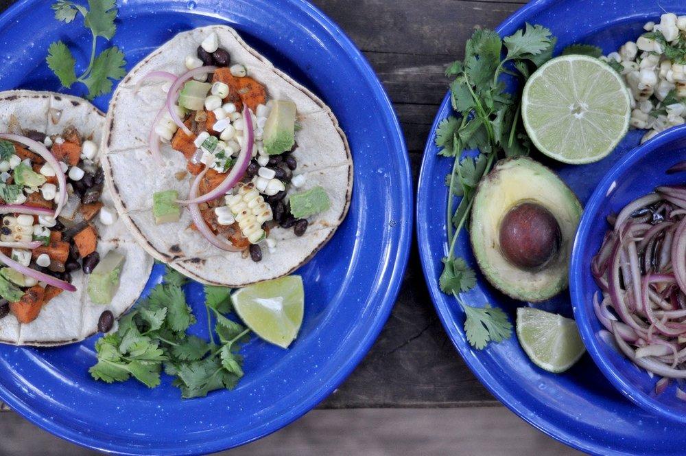 Camping vegan tacos