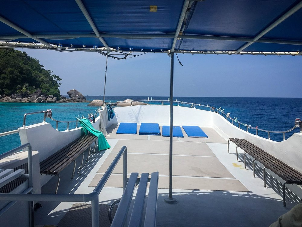 Similan Islands Liveaboard Wicked Diving Thailand Top Deck Sunny Area