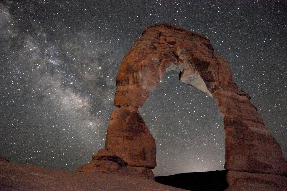 Nighttime Delicate Arch Milky Way Arches National Park