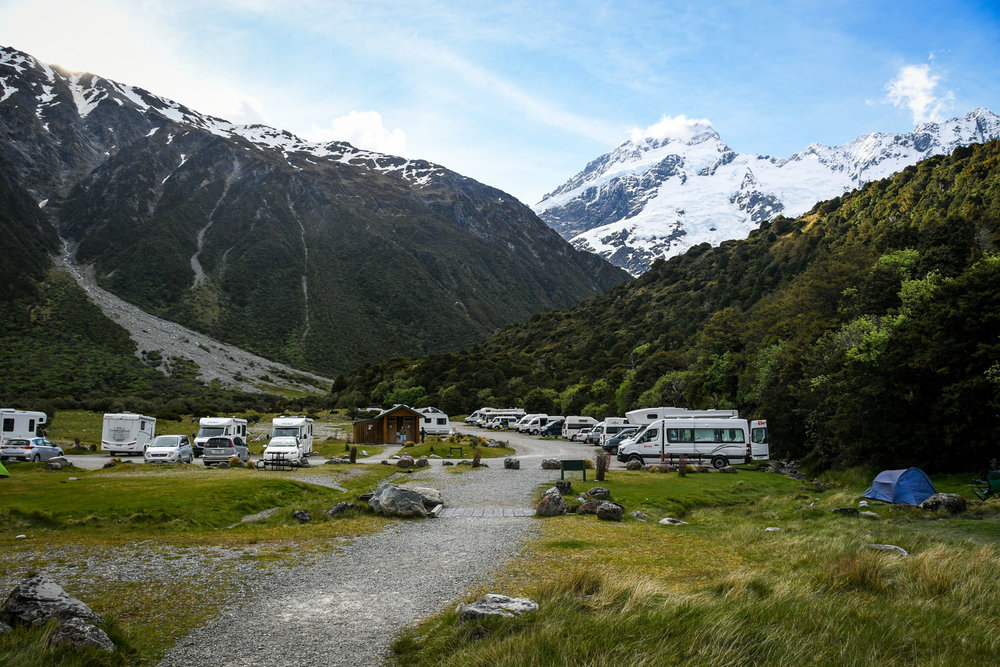 South Island New Zealand Itinerary Road Trip Mount Cook Village White Horse Hill Campground