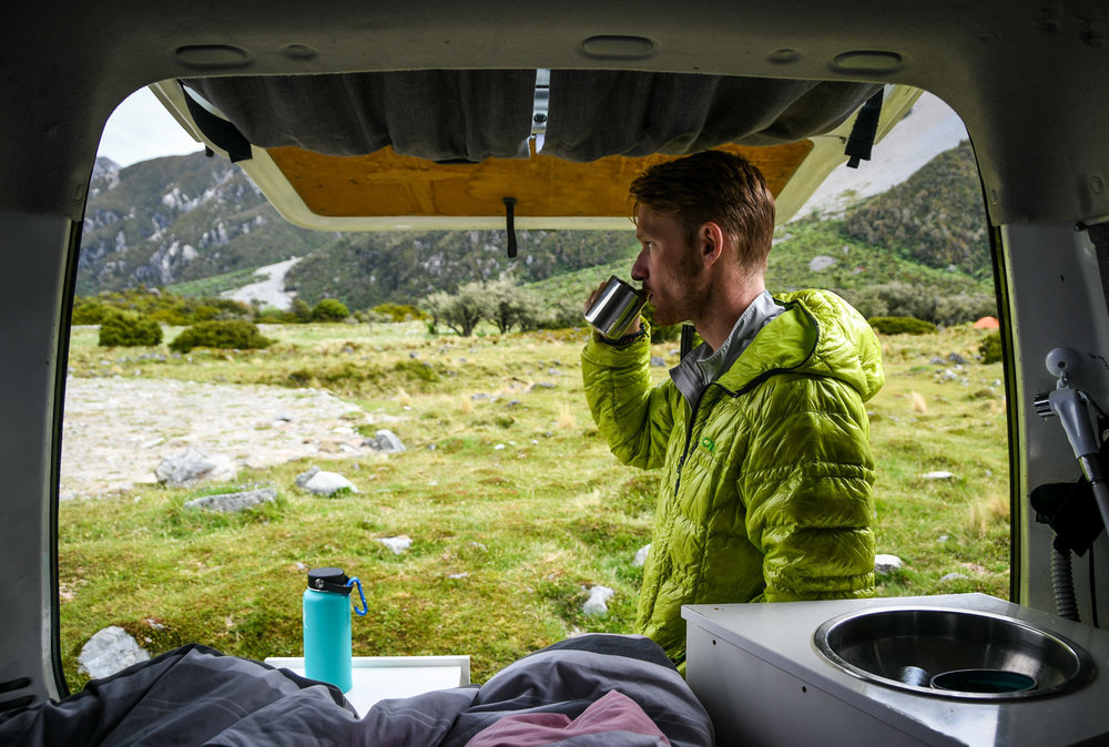 New Zealand Budget Travel Coffee in a Campervan