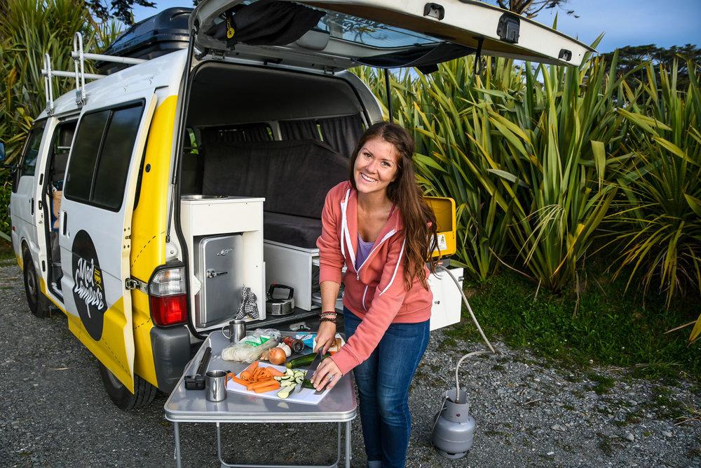 New Zealand Budget Travel Cooking your Meals Campervan