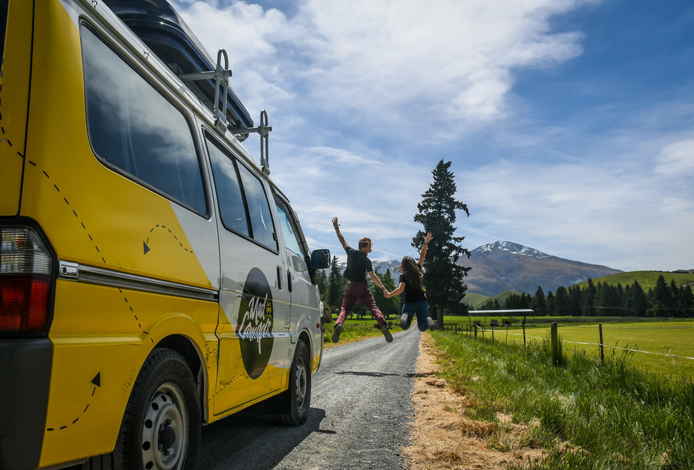 Planning a Campervan Trip in New Zealand Jumping Picture