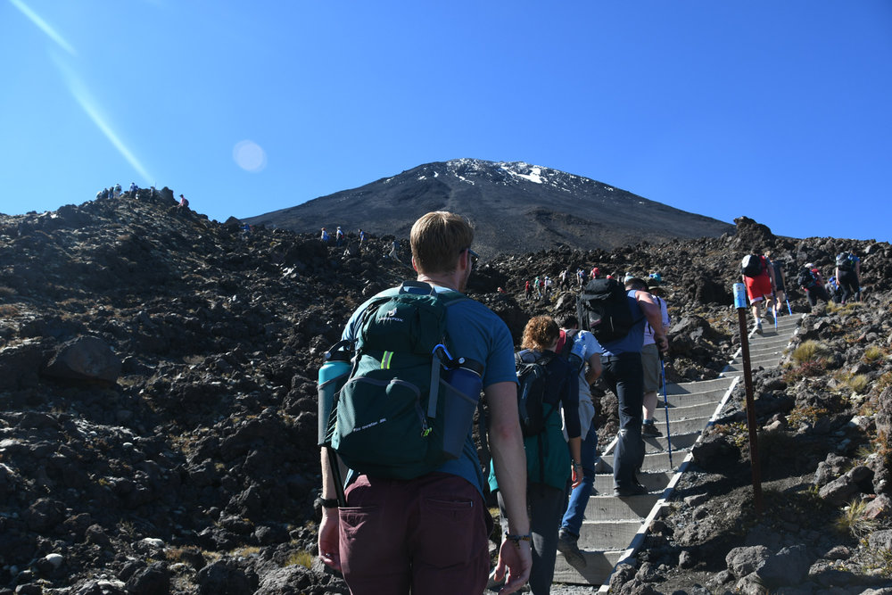 North Island New Zealand Road Trip Tongariro Alpine Crossing Busy With Hikers