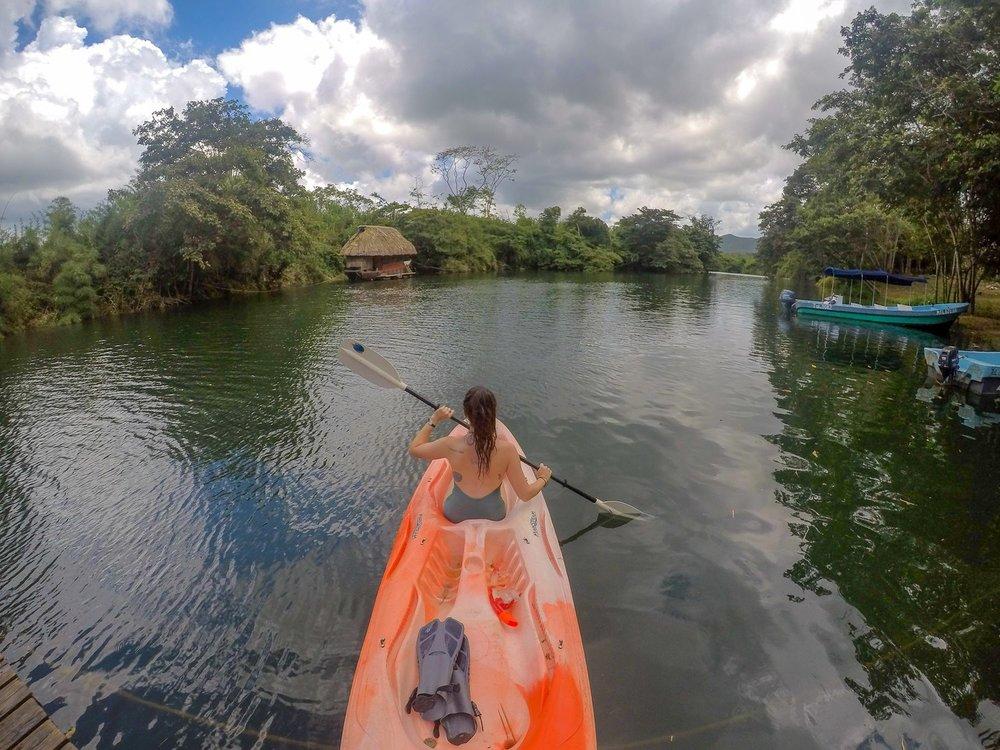 Kayaking to Boat Cabana at Cotton Tree Lodge