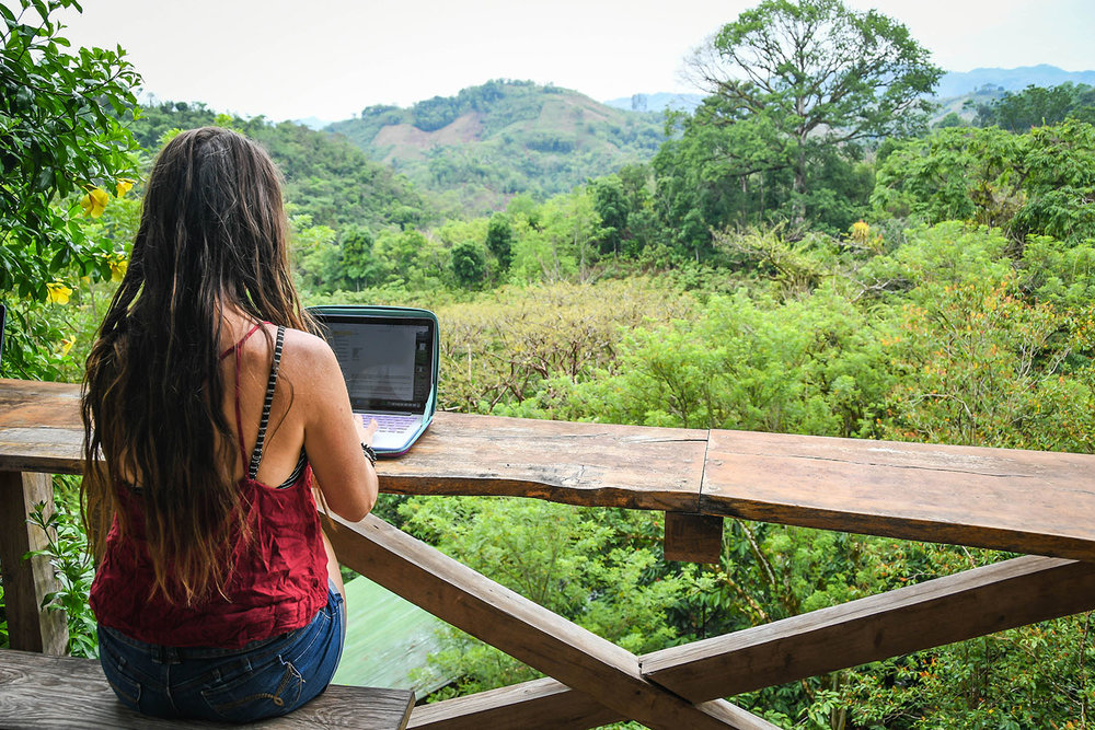 That's me proving you can even work from a jungle lodge with super greasy hair. Sweet, huh?!