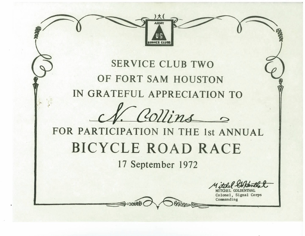 Neal Collins Ft Sam Bike Road Race Cert 1972.jpg