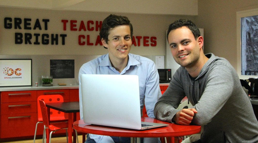 OpenClassrooms co-founders Pierre Dubuc and Mathieu Nebra