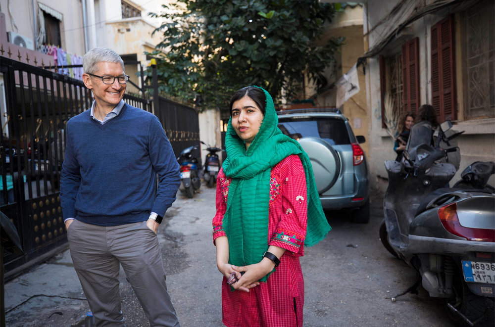 Apple will support Malala fund programs with technology, curriculum and research into policy changes to help girls attend school and complete their education.  - Photos: Apple.com