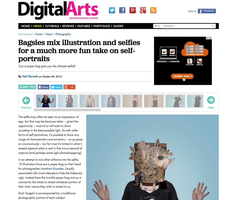 Digital Arts, 2014   Bagsies mix illustration and selfies for a much more fun take on self-portraits