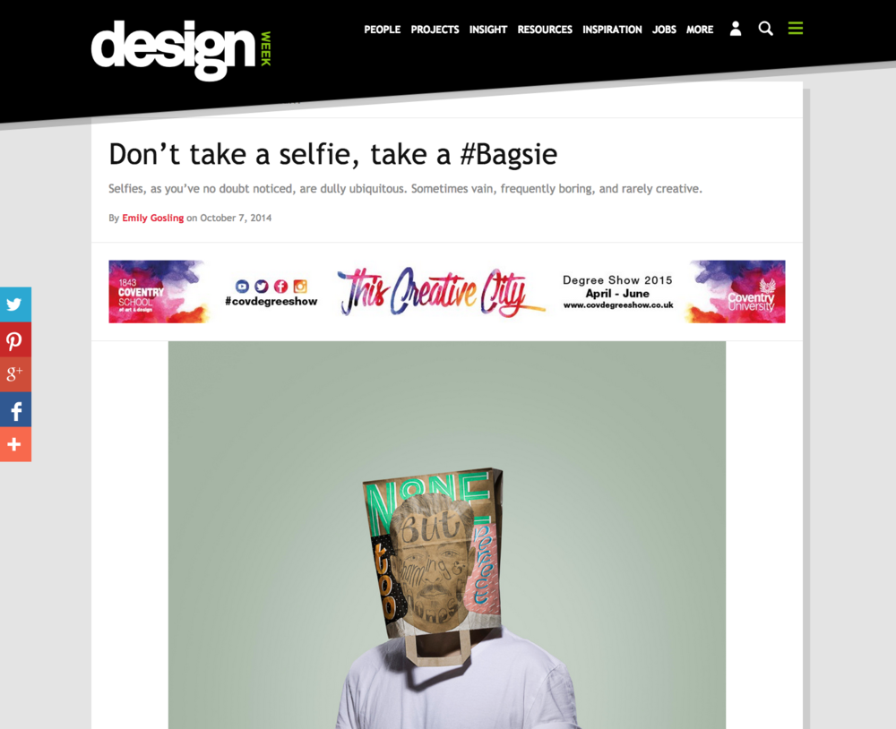 Design Week, 2014   Don't take a selfie, take a #Bagsie