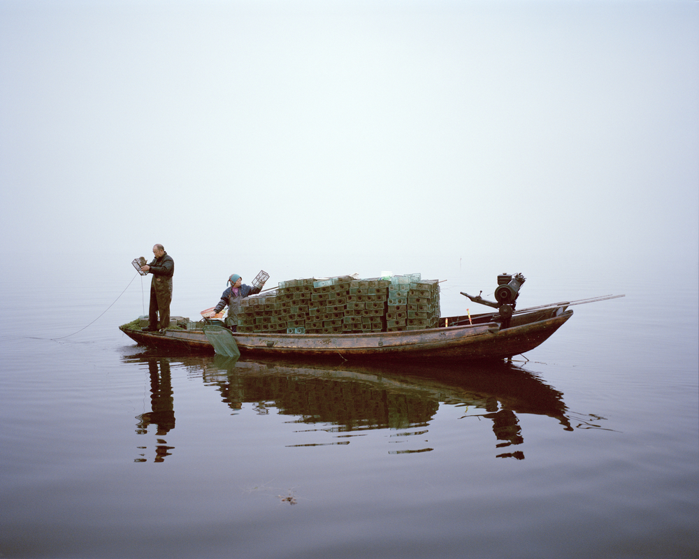 Shrimp fishing, Lake Hong, Hubei Province, China, 2015.   A couple work on the lake at sunrise. Although poems and stories about Lake Hong's purity are enshrined in Chinese cultural history, it has been damaged by unsustainable fishing practices. Over the past 14 years local communities and government have helped to restore the lake, demonstrating how sustainable fishing methods can result in healthy fish, reduced pollution and clean water. Credit: © Mustafah Abdulaziz / WWF-UK